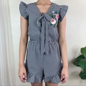 After Market Gingham Ruffle Romper
